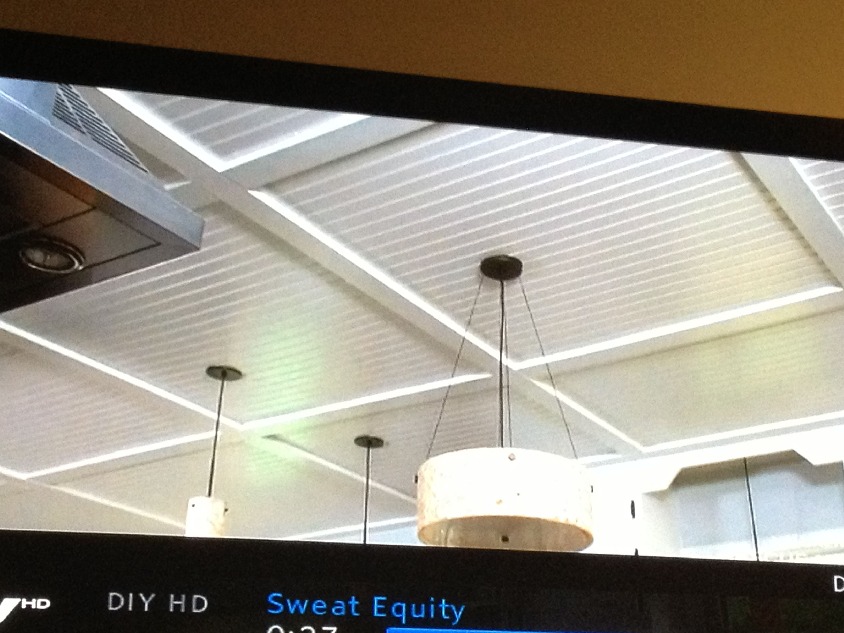 beadboard coffered ceiling from sweat equity on diy. Black Bedroom Furniture Sets. Home Design Ideas