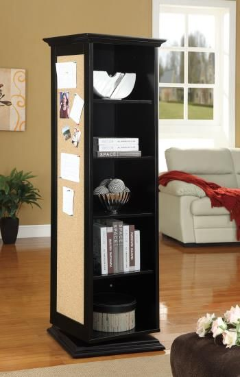 Black Finish Wood Rotating Storage Cabinet With Large Cork Board And Dressing Mirror Open Shelves