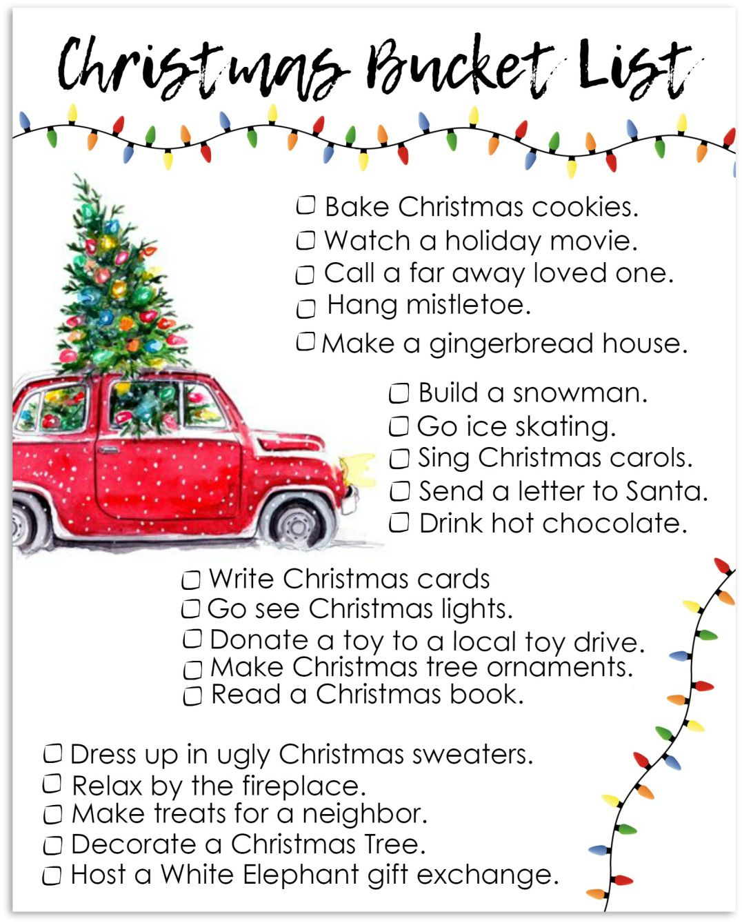 Free Printable Christmas Bucket List  Free Printable Holiday Fun