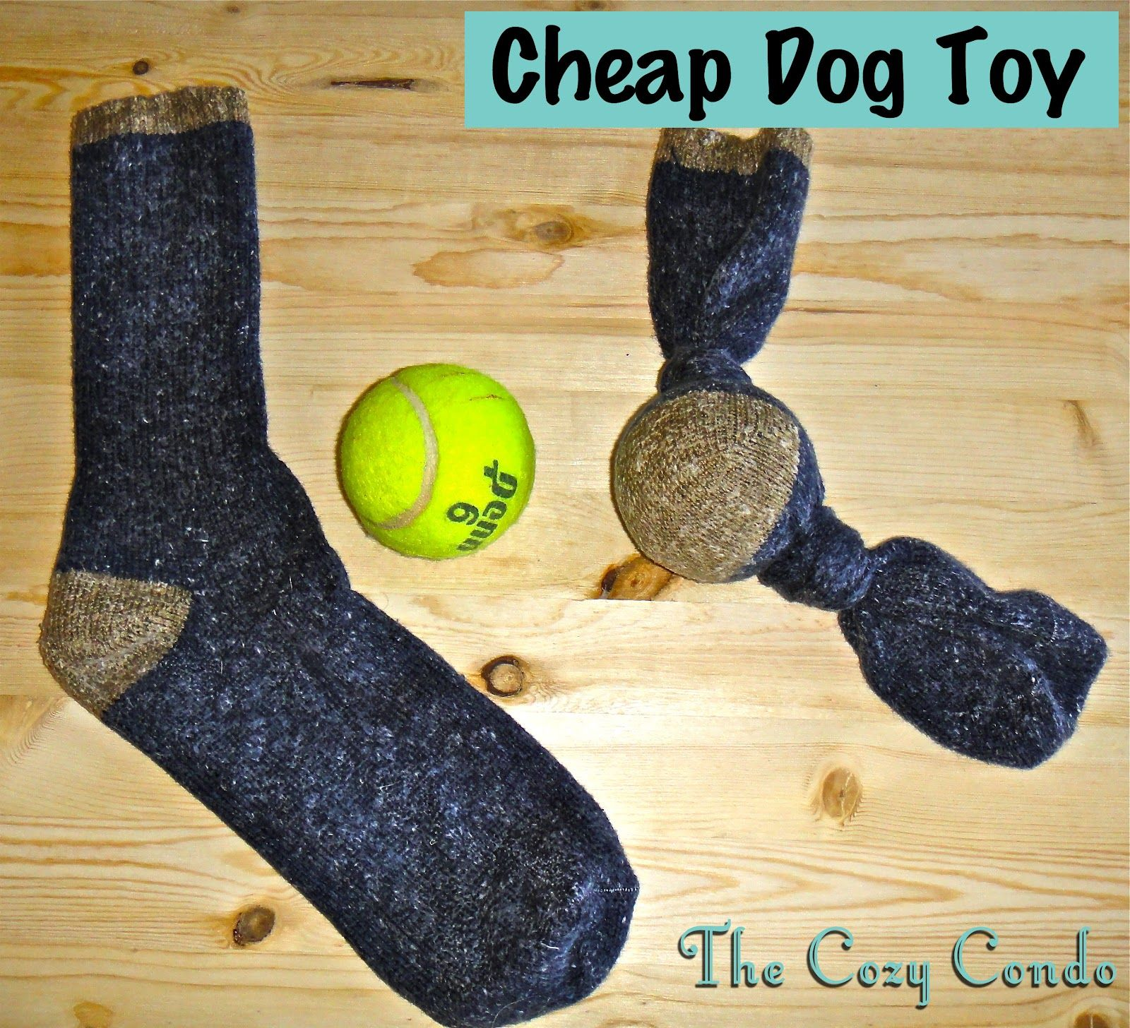 Cheap Dog Toy Tennis Ball and Old Sock I made something similar