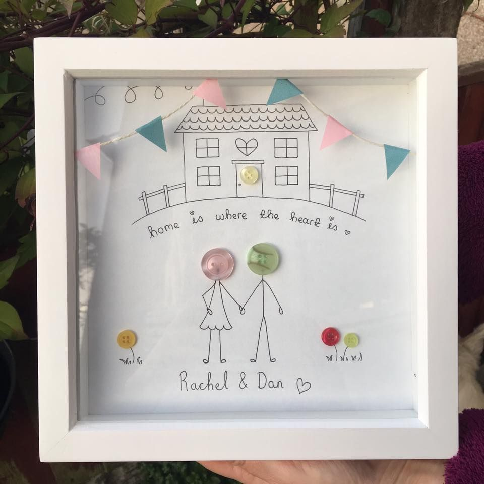 Family new home house illustration personalised frame gift art craft ...