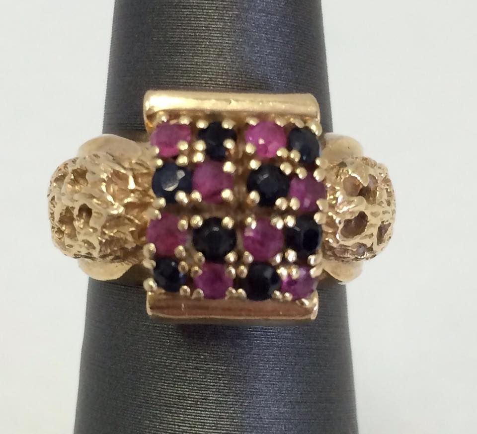 14kt, Blue Sapphires And Rubies. Size 5. Retailed For $800. It Is