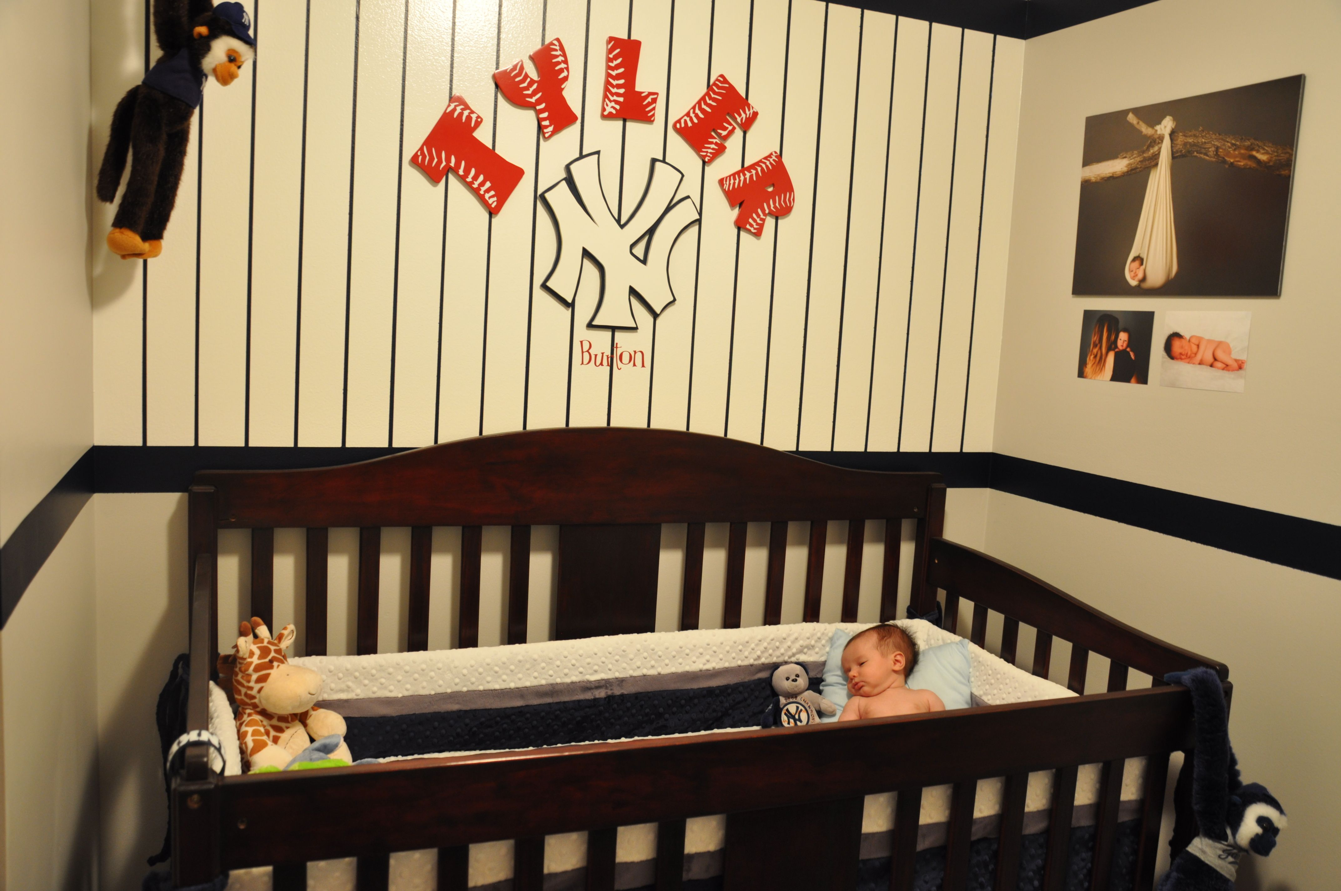 new york yankee baby nursery. i finished this wall of the nursery