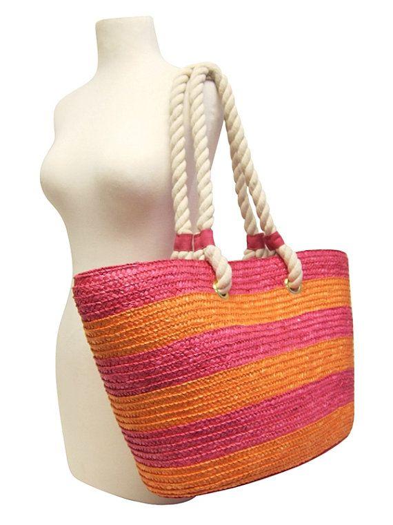 straw bag beach stripe bags summer tote beach by GirlsBusiness ... d05d7f8fbc2d0