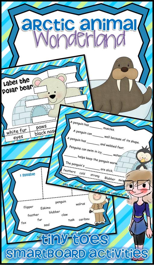 Arctic Animal Wonderland W Penguins Seals Walrus Polar Bears SMARTboard