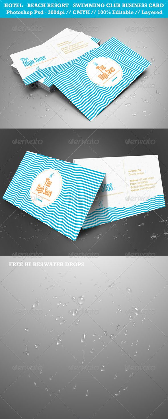 Hotel, Beach Resort, Swimming Club Business Card | Business cards ...