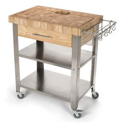 Chris Pro Stadium Kitchen Cart With Butcher Block Top Reviews Wayfair