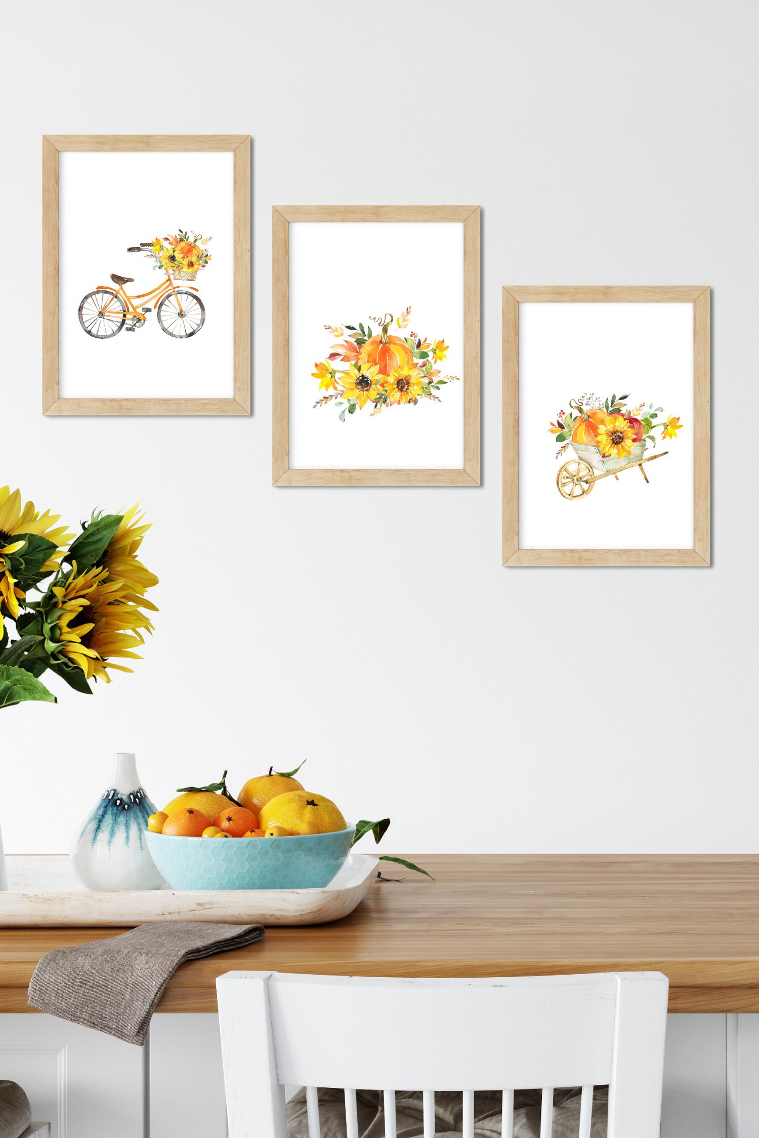 Harvest Illustrations Flower Printales Digital Art Orange Instant Download Etsy Wall Art Wall Art Living Room Room Wall Art