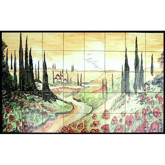 Arts Exotiques Tuscany Landscape Mosaic Mural Tiles