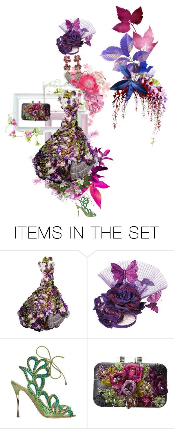 """""""Over the top"""" by jglammy ❤ liked on Polyvore featuring art, Flowers, AlexanderMcQueen, hautecouture, NicholasKirkwood and maryfrances"""