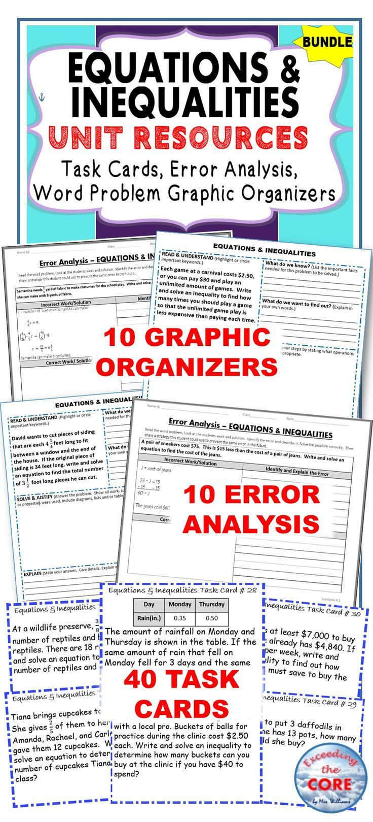 Equations inequalities task cards error analysis