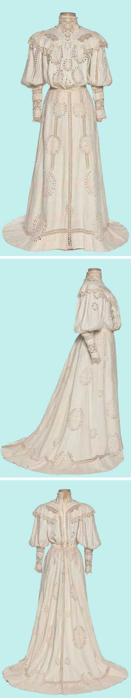Two-piece dress, ca. 1900. Cotton with white embroidery and bobbin lace. Mother-of-pearl buttons. Les Arts Décoratifs