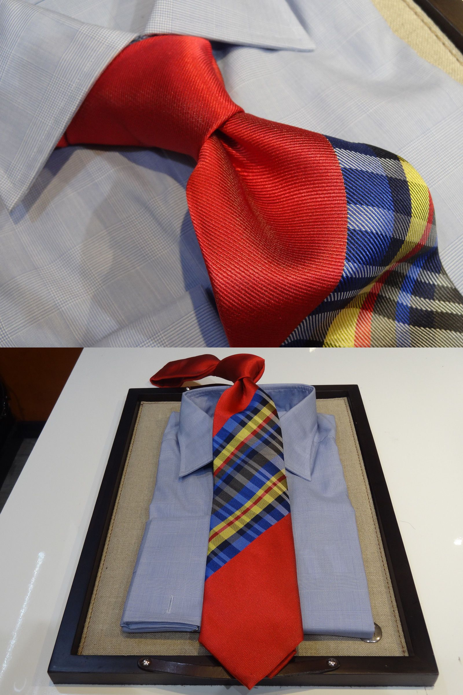 f41ebd6ce036 Ties 15662: Steven Land Big Knot Silk Tie Coral Red Blue Yellow Gray Stripe Check  Plaid -> BUY IT NOW ONLY: $59 on eBay!
