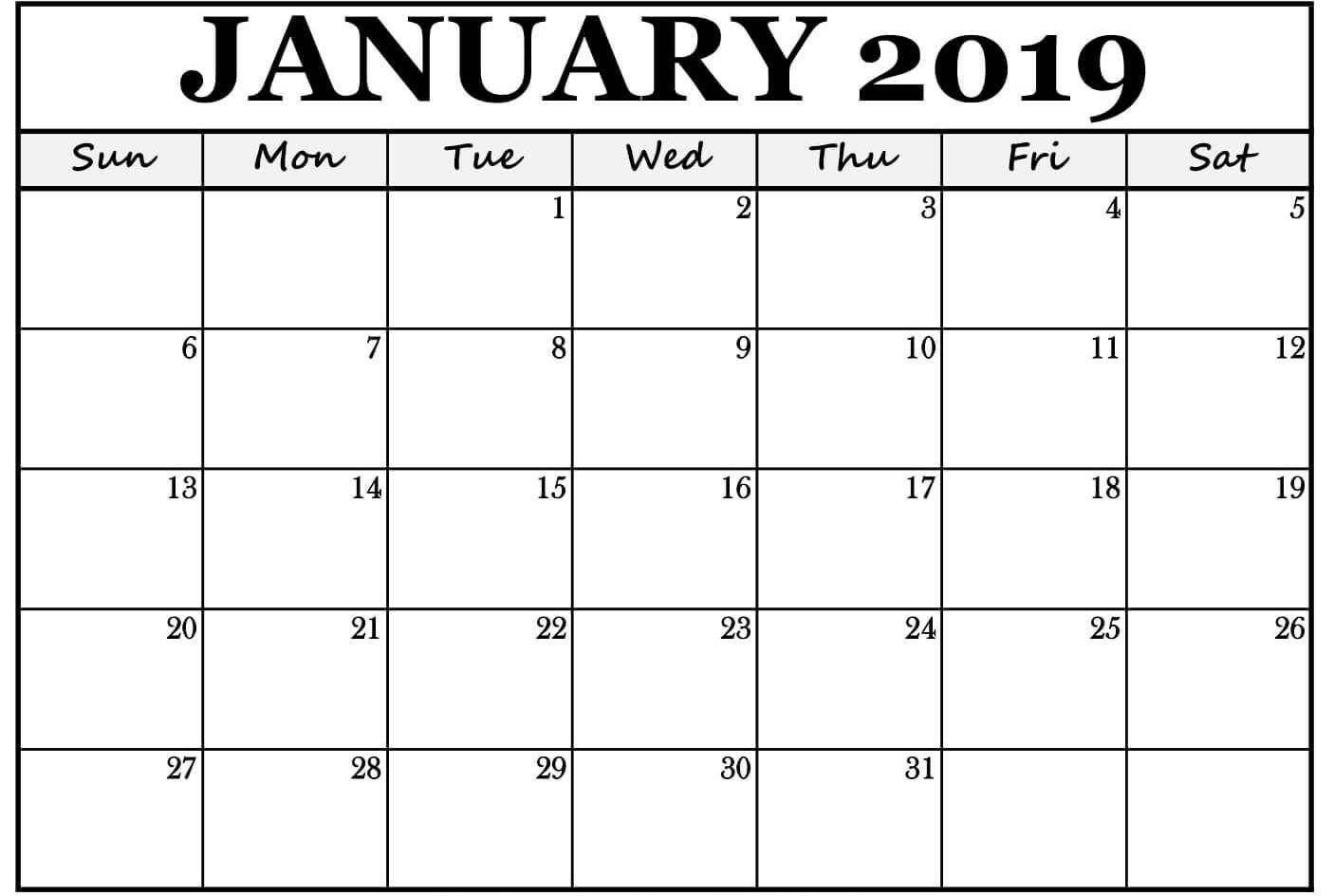 Print January 2019 Calendar Pdf Word Excel Portrait And Landscape
