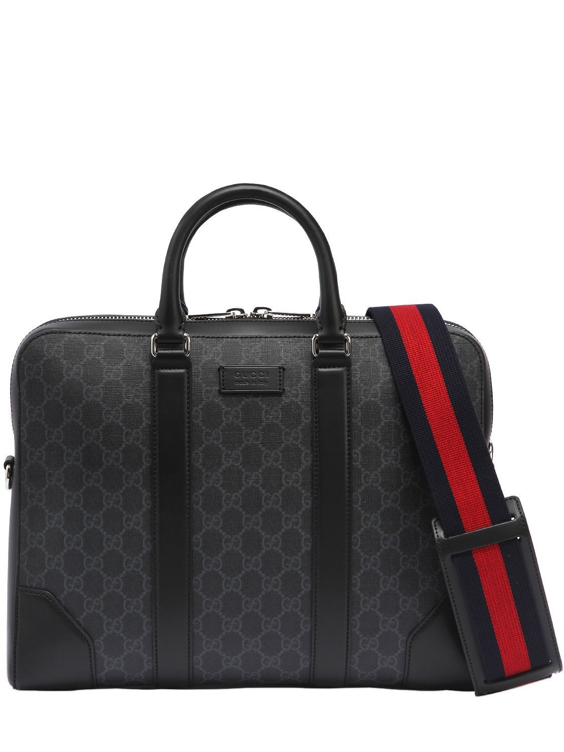 9b4aadcf42e929 GUCCI SLIM GG SUPREME LOGO BRIEFCASE. #gucci #bags #shoulder bags #hand bags  #canvas #leather #lining