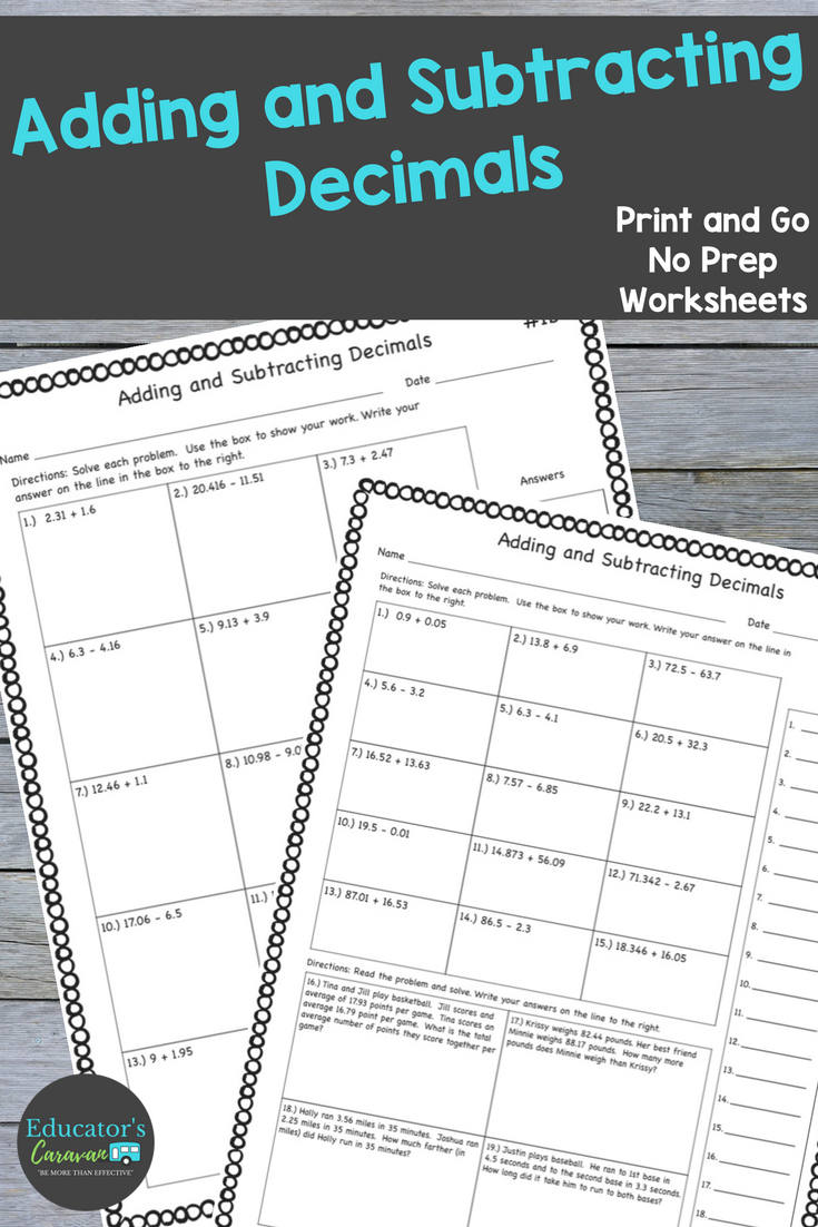 hight resolution of Use these worksheets to reinforce adding and subtracting decimal skills.  This set of print and go 4th and …   Subtracting decimals