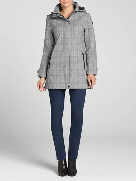 """Laura Petites: for women 5' 4"""" and under. Laura Petites. Detachable hood. Front zip pockets. Front zip closure with snap button placket. Slight stretch. Lined. Imported....4030226-8322"""
