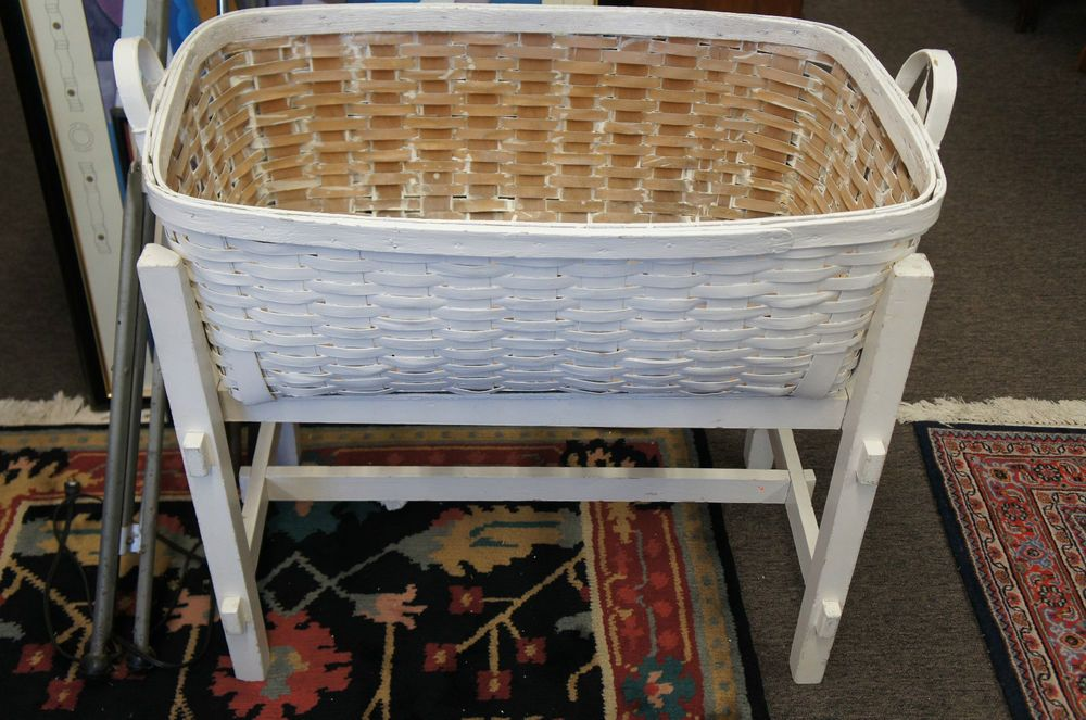 33 5in Long X 30in Tall Basket And Stand Fab Antique