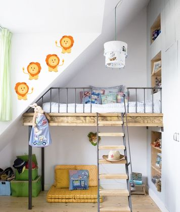 Lion Cartoon Printed Decal Cool Loft Beds Built In Beds For