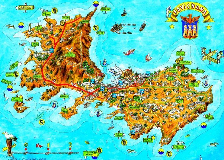 Favignana tourist map Maps Pinterest Tourist map and Italy
