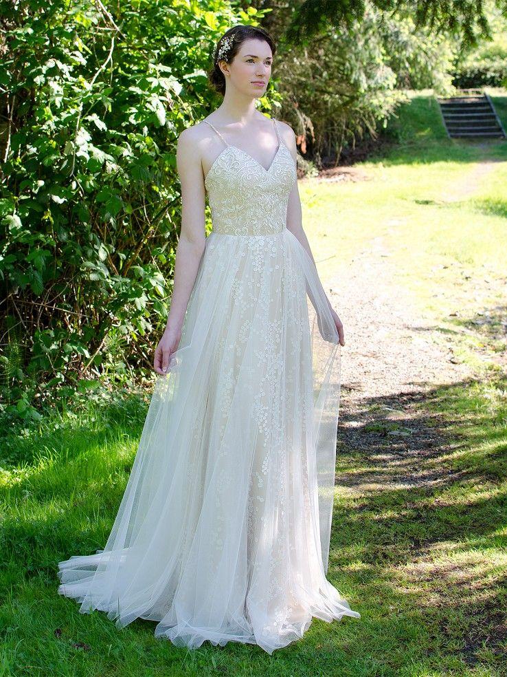 Spaghetti strap wedding dress 4057 Long sleeve wedding