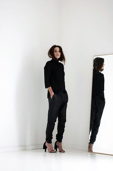 LEATHER TRACK PANTS  (by Cindy Van der Heyden)   http://lookbook.nu/look/4229919-LEATHER-TRACK-PANTS#