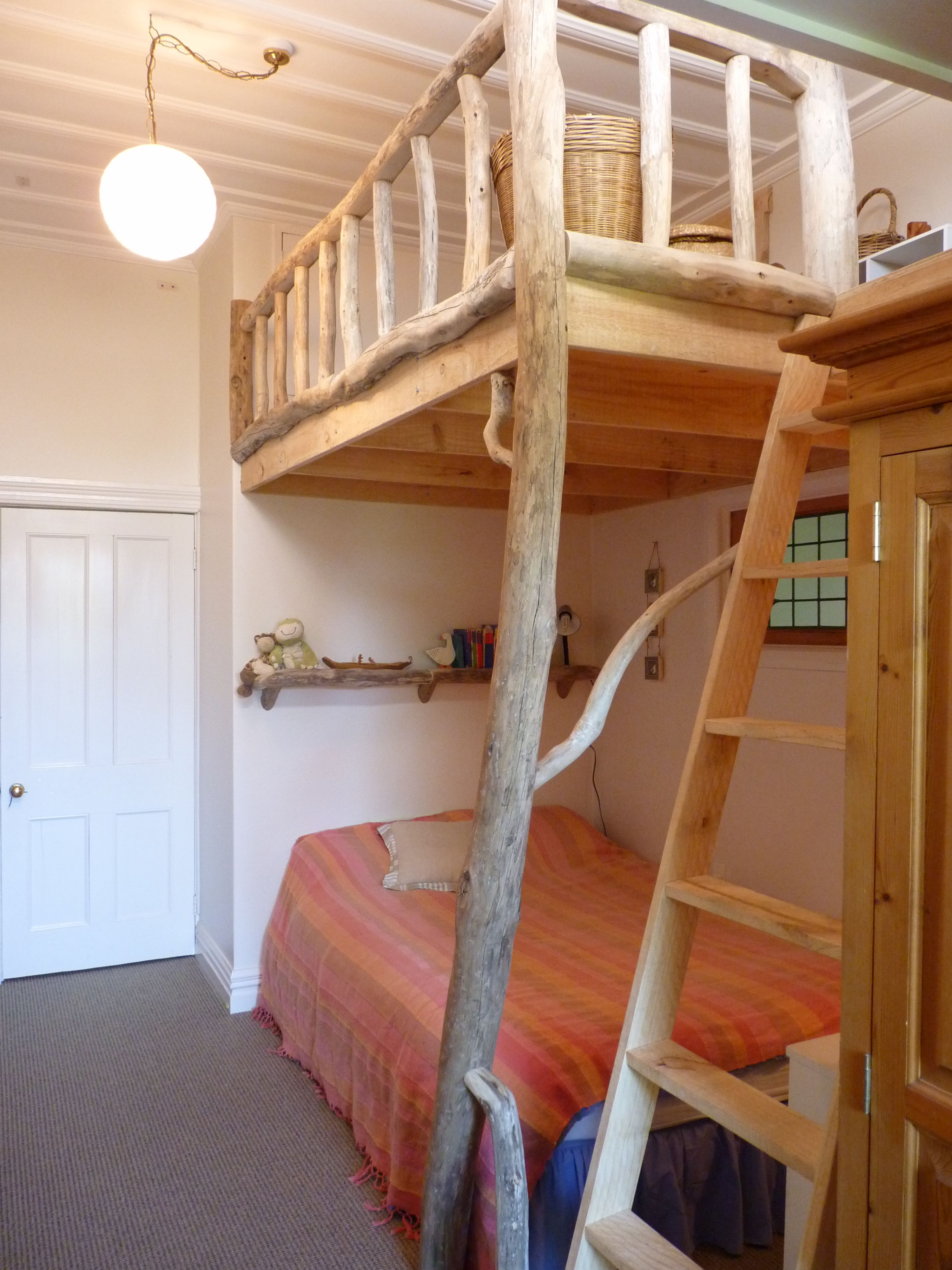 Driftwood loft for our kids, built by Douglas Ransom of