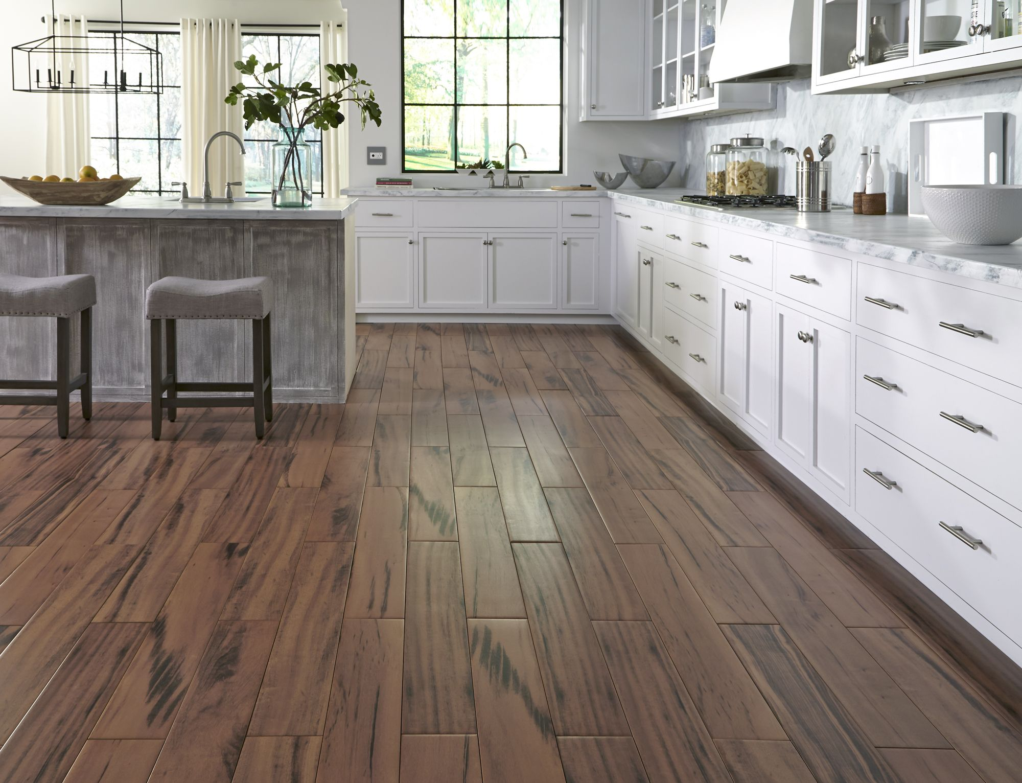 Looking for something gorgeous natural looking durable for Hardwood floor tile kitchen