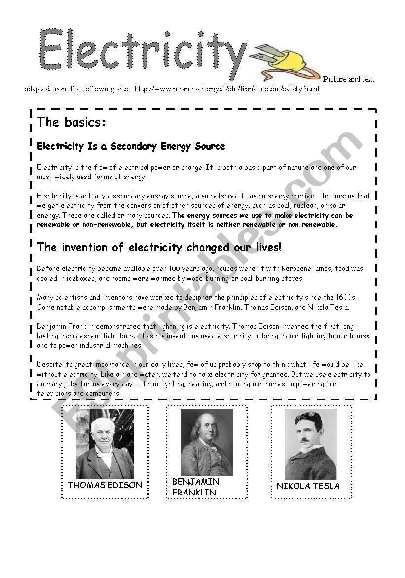 small resolution of energy and electricity worksheet   Middle school energy