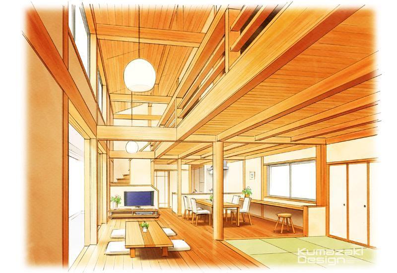 Kd 36 住宅内観パース 木調 和室 リビング 手描きパース 建築パース