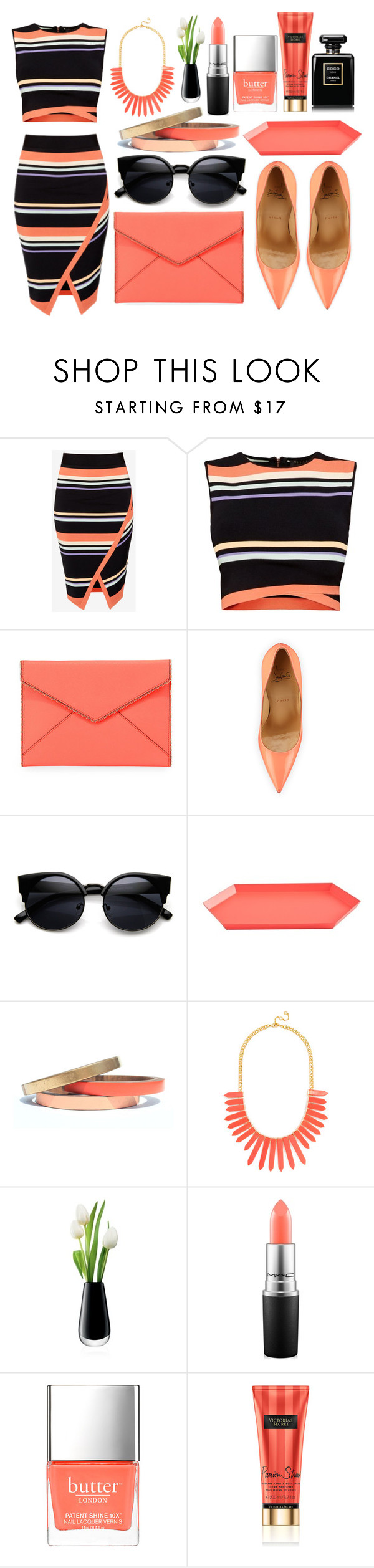 """Untitled #201"" by dzchocolatess ❤ liked on Polyvore featuring Ted Baker, Rebecca Minkoff, Christian Louboutin, HAY, Voz Collective, BaubleBar, LSA International, MAC Cosmetics, Butter London and Chanel"