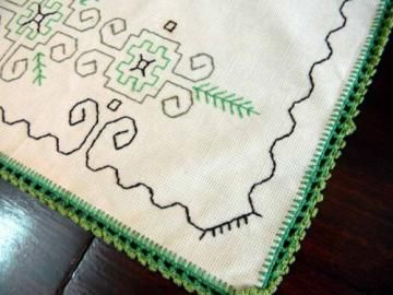 Vintage Green Celtic Irish Placemat Linen Crocheted Edge 3459 by VintageKeepsakes for $3.50