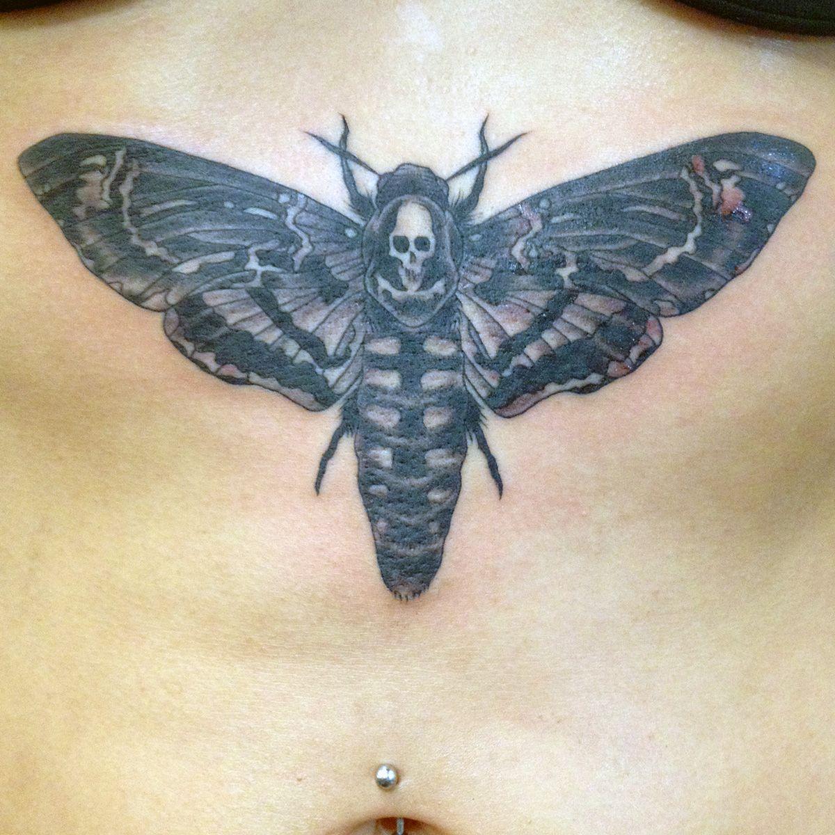 Head Moth Tattoo By Chip Telano All Saints Tattoo Austin Texas
