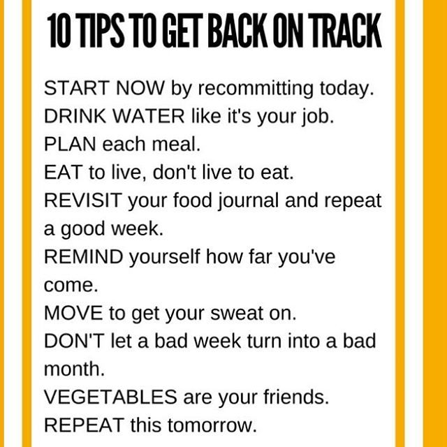 We All Let Go And Had Lots Of Goodies This Past Week But Today Is Your Day To Get Back On Track Don T Wait Till Januar Back On Track Track Diet