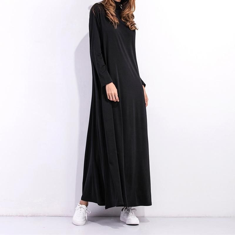 Vestidos Casual Pockets Loose Dress Black Ladies Dresses Maxi Long ... 9cd8d0ee51a3