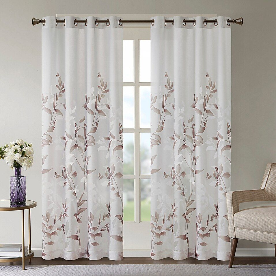 Mp Cecily Burnout Printed Window Panel Mauve In 2020 Panel