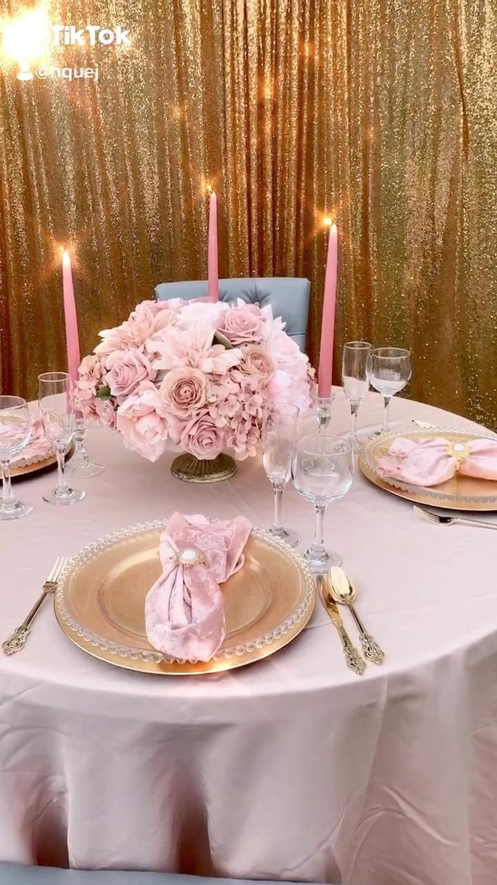 Blush and gold dinner table wedding home decor