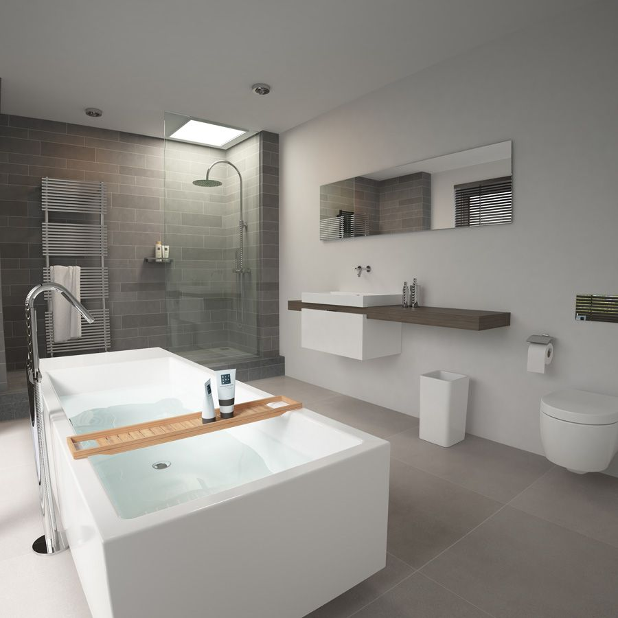 Clou match me wash me vrijstaand bad met douche voorzien van regendouche grijs afgewerkte - En grijze bad leisteen ...