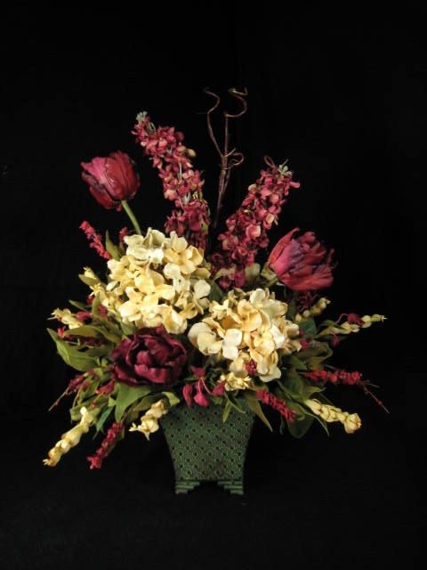 Burgundy and cream tulips hydrangea silk floral