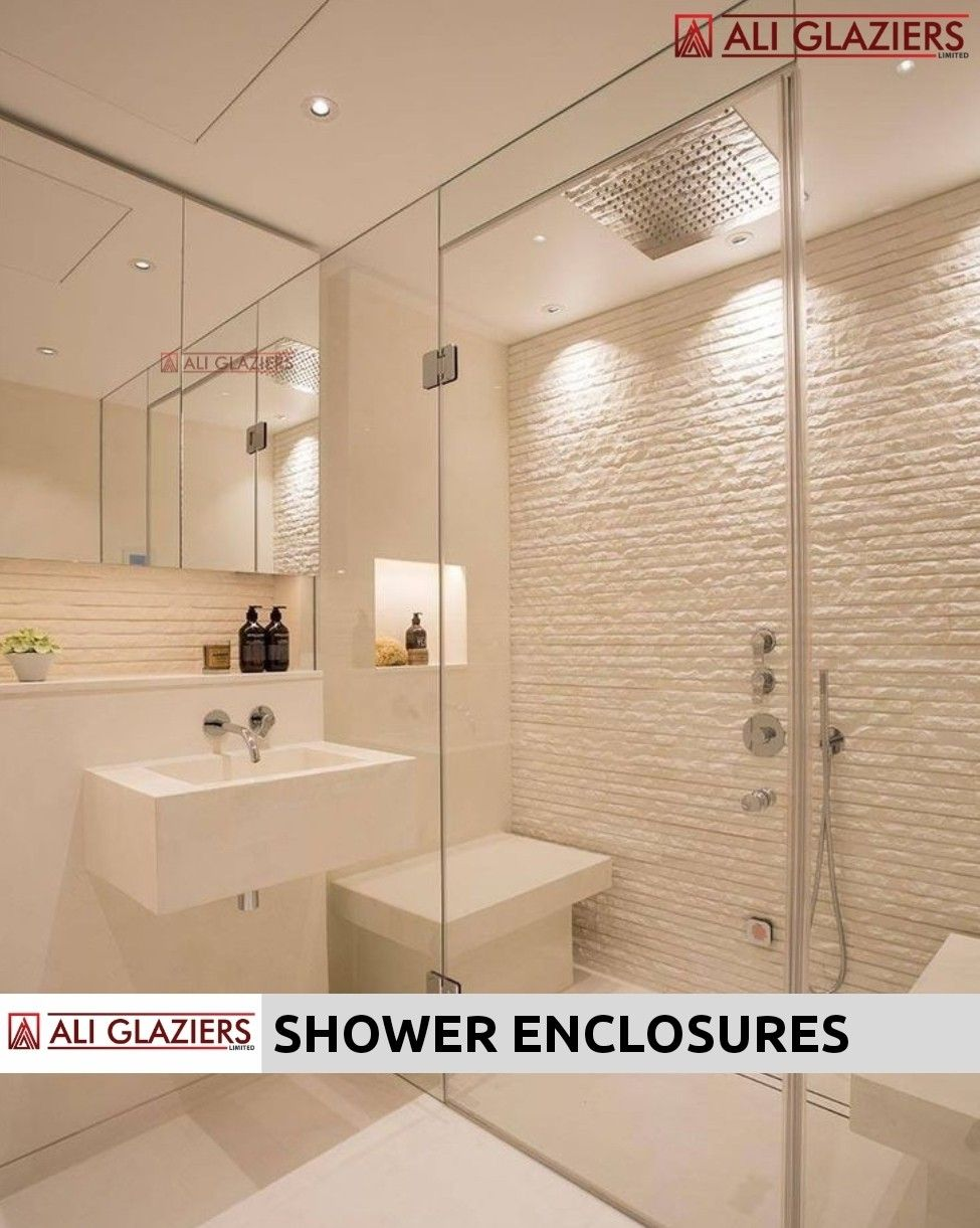 STRAIGHT SHOWER ENCLOSURES WITH GLASS TO GLASS HINGED DOORS