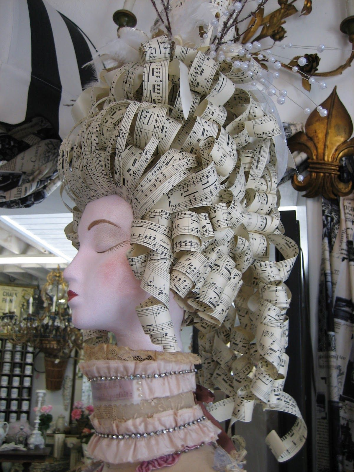 18th Century inspired hair made out of sheet music