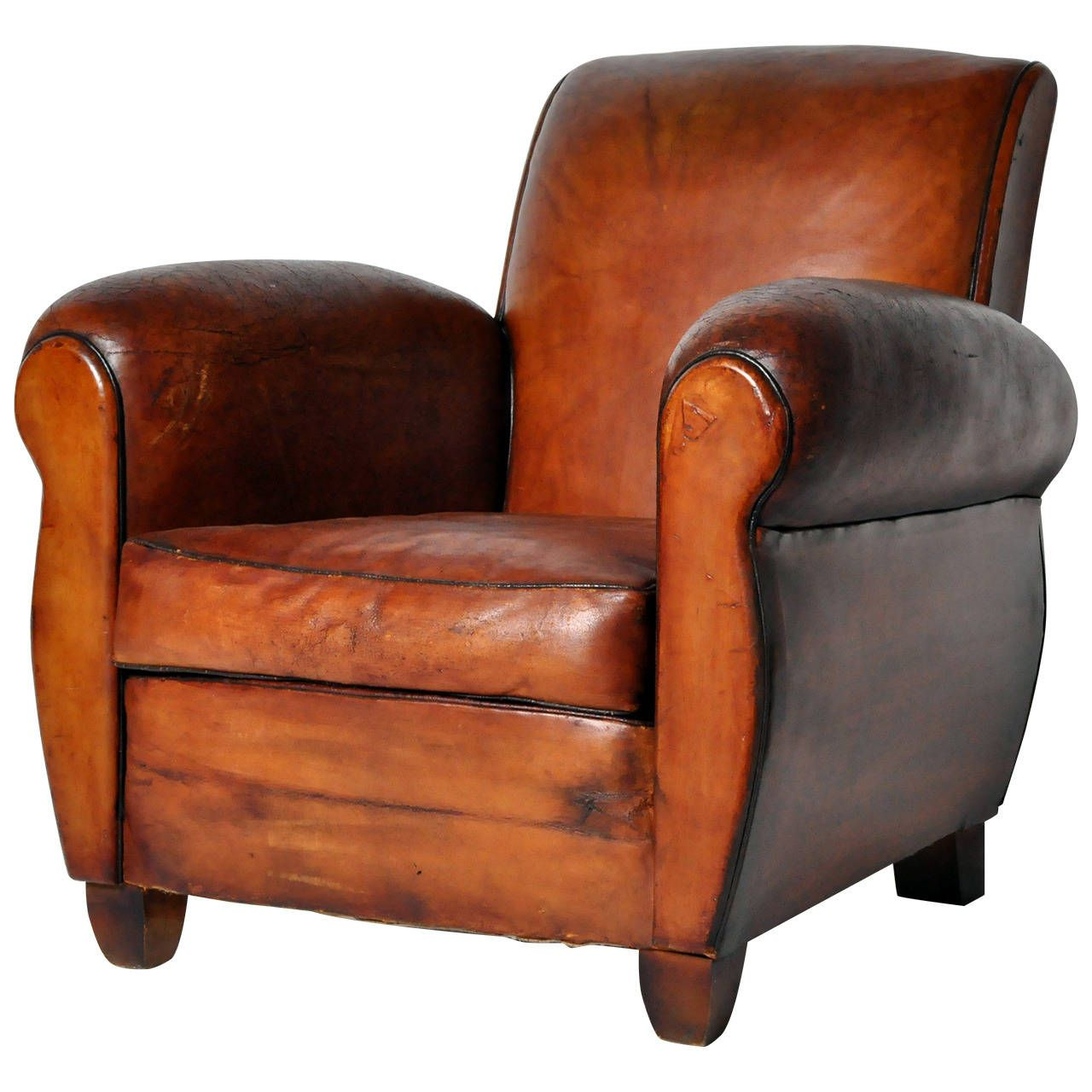 Vintage French Leather Club Chair - Vintage French Leather Club Chair Leather Club Chairs, Upholstery