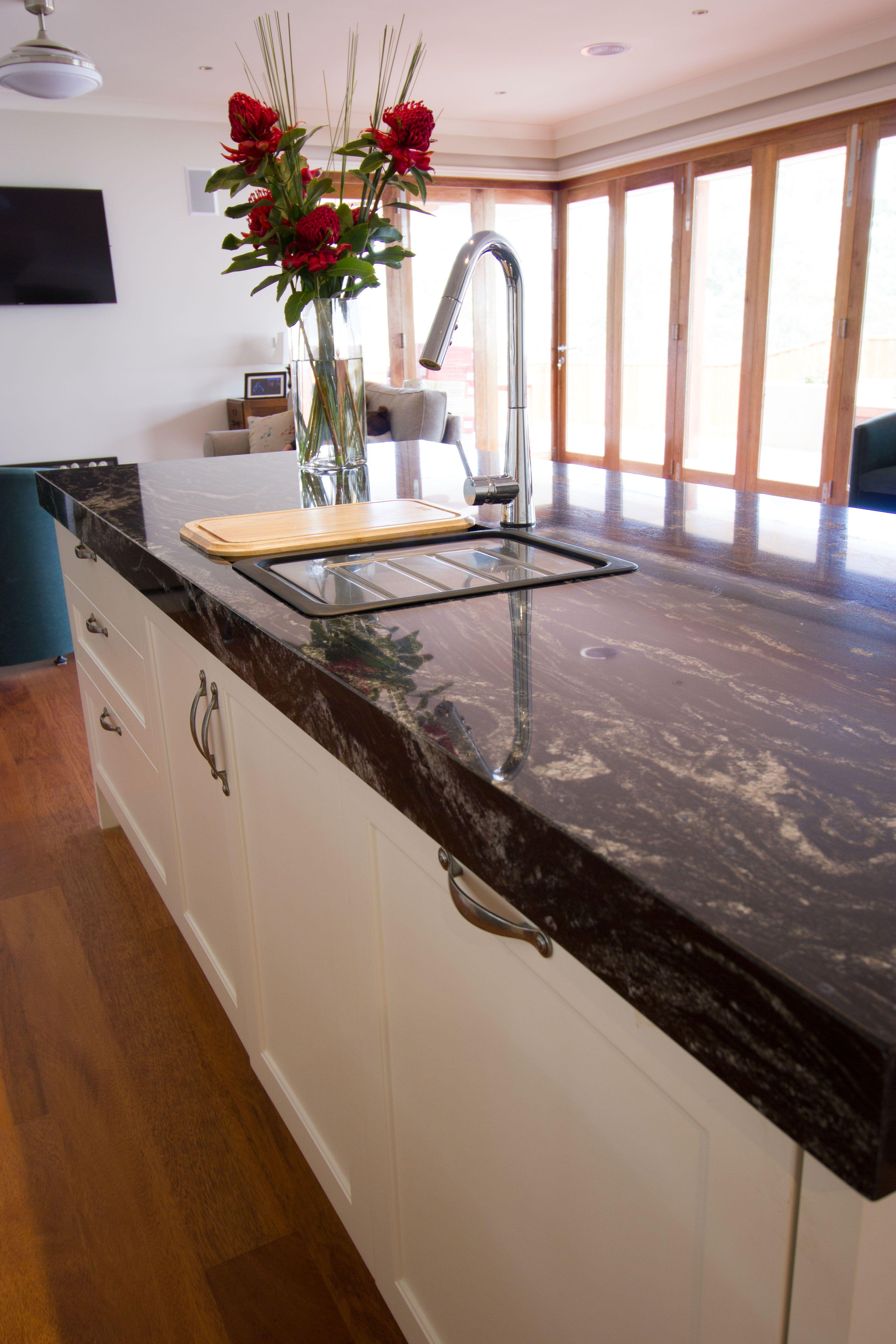Traditional kitchen. Granite benchtop. Goose neck tap. www