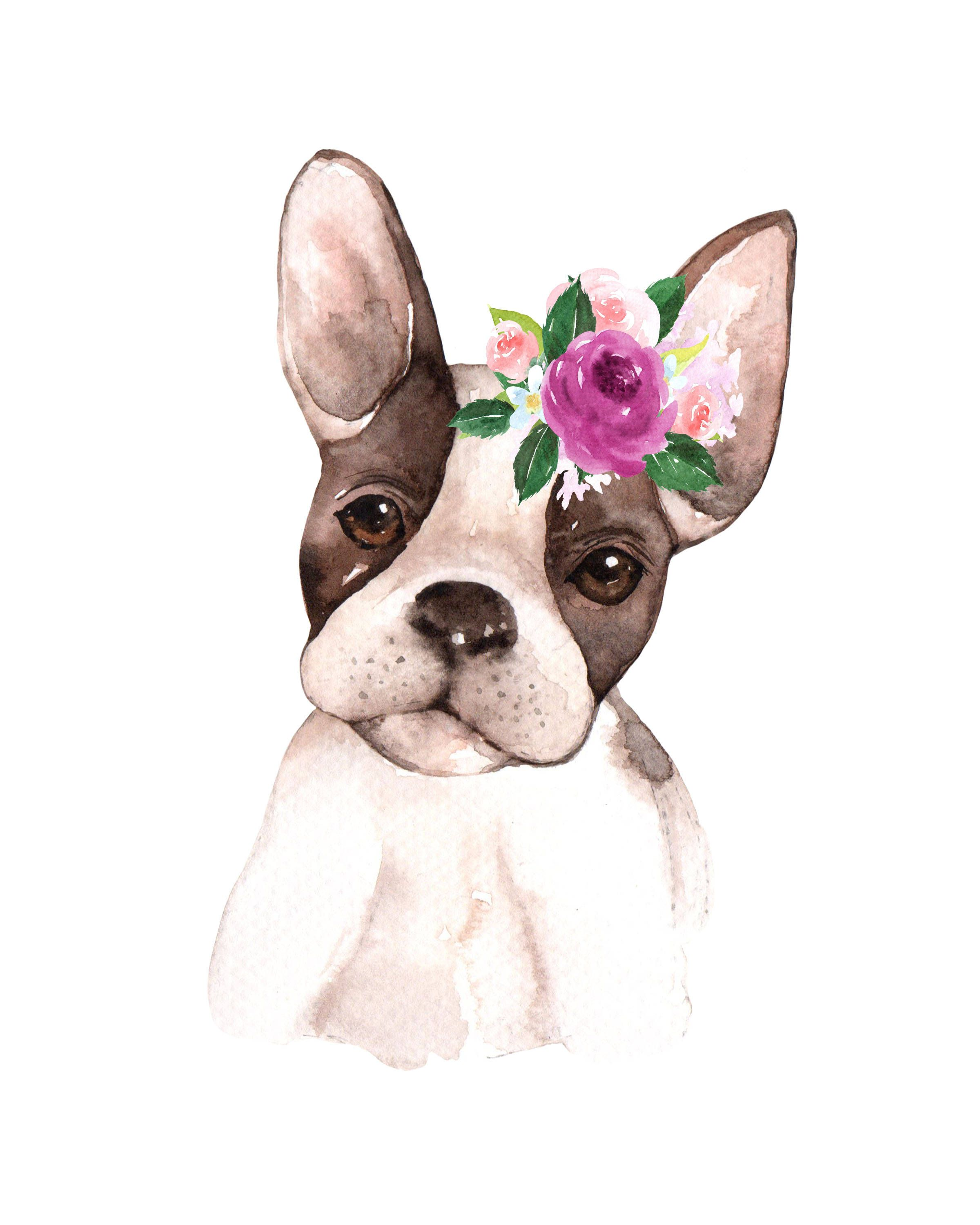 French Bulldog Flower Floral Crown Watercolor Kid Printable Wall Art Poster Nursery Decor Gallery Animal Nursery Art Baby Animal Nursery Art Floral Nursery Art