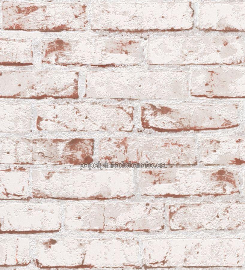 Papel pintado ladrillos visto blancos desgastado - 40432