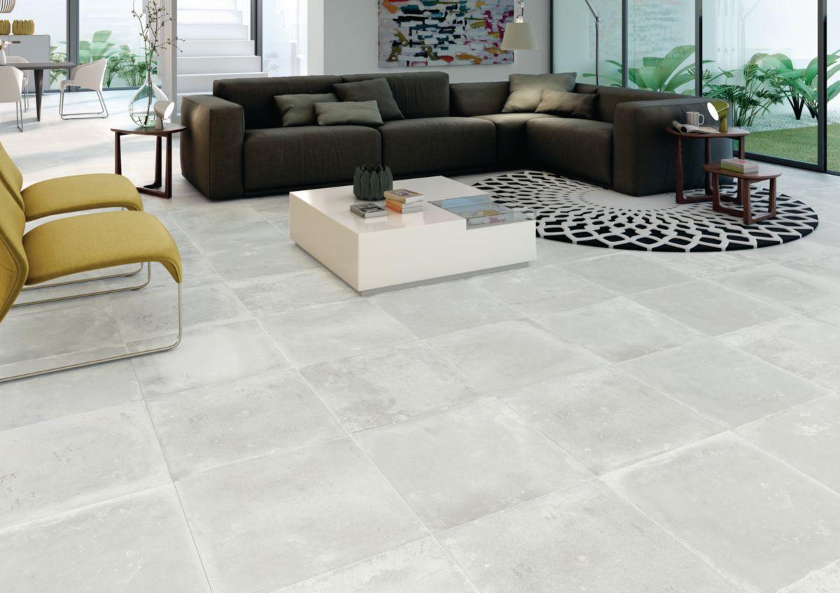 Carrelage Sol Interieur Gres Cerame Factory Blanc Mat 50x50 Cm
