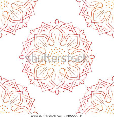 Oriental floral background with red lotus on white. Vector seamless pattern for textile, wrapping, wallpaper, web page background.
