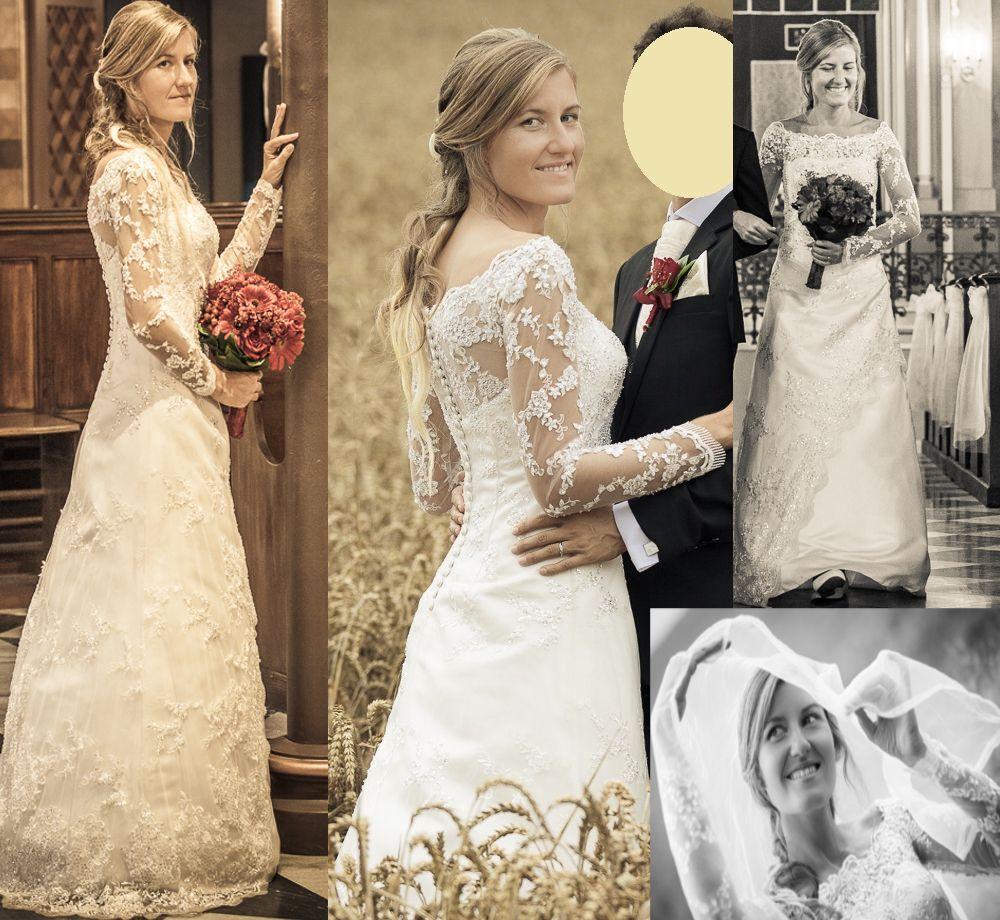 ♥ Zauberhaftes Langarm Brautkleid Gr. 36 38 aus Spitze – Farbe ...