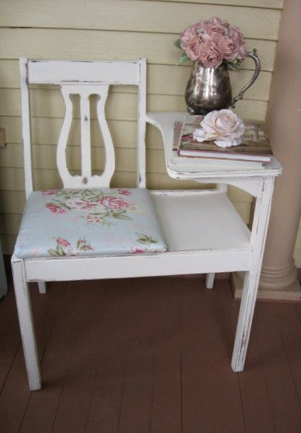Liza Antique White Panel Bedroom Set: Shabby Chic Gossip Bench Telephone Stand Gossip By