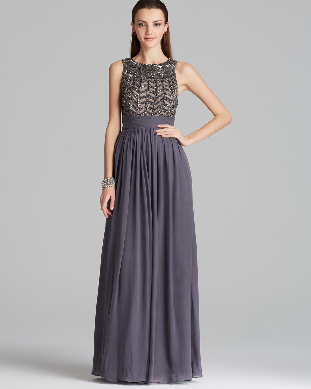 Boutique Beaded Bodice Chiffon Gown - Gladiator | Bloomingdale\'s ...